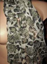 "LADIES ELEGANT CHIFFON SCARF WITH LEOPARD HEAD DESIGN BEIGE BLACK 58"" X 19.5"""